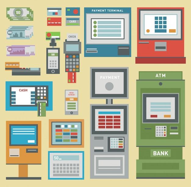 Atmお金pos端末手クレジットカードアイコン。支払い振替atmモバイルサービス自動端末。お金クレジット通貨現金サイン銀行ドルお金atmマシン