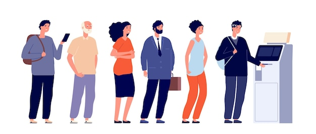Atm 대기열. 사람들이 기다리는 줄, 은행 기계는 재정적 안전을 위해 얼굴을 인식합니다. 여자 남자는 현금, 디지털 지불 벡터 삽화가 필요합니다. atm 은행에 줄을 서는 사람들