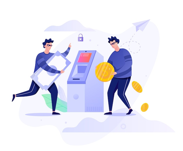 Atm robbery concept. criminal character stealing money