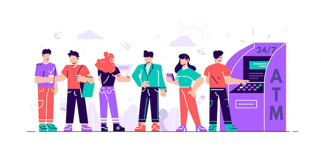 Atmのキュー。ビジネスの女性と男性が並んでいます。図では、webページ、ソーシャルメディアのatmを使用して金融取引を実行します。人々はatm機の近くに並んで待っています。