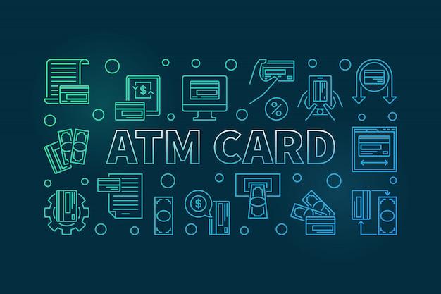 Atmカードの概要色付きの水平の背景色。