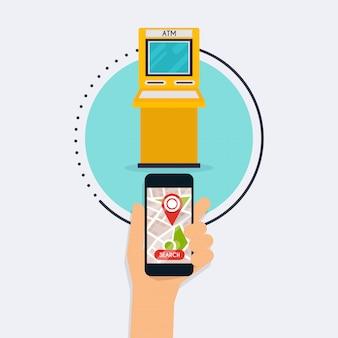 モバイルアプリatm検索でモバイルスマートフォンを持っている手。