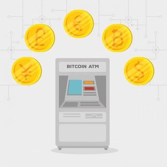 Atm交換ビットコイン電子国際通貨
