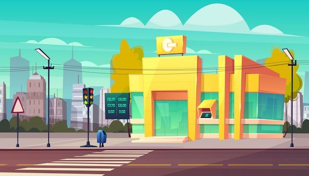 近代的な銀行支店の為替レートデジタルインジケーターとatm現金自動支払機の入り口漫画ベクトル。