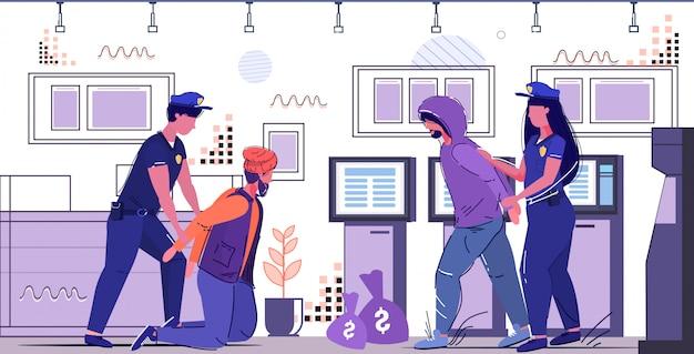 警察官がatm犯罪罰法執行の概念現代銀行インテリア全長スケッチからお金を盗んで犯罪者の泥棒を逮捕