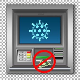 警告バナー現金、atmによるコロナウイルス感染のリスク。