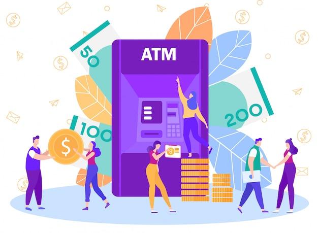 銀行atmネットワークサービスフラットベクトルの概念