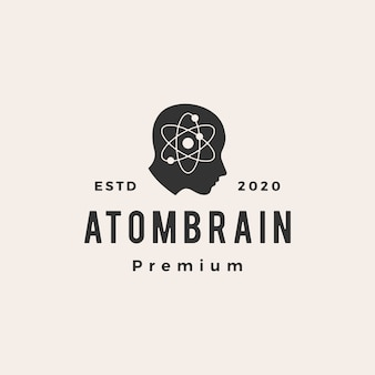 Atom brain head hipster vintage logo  icon illustration