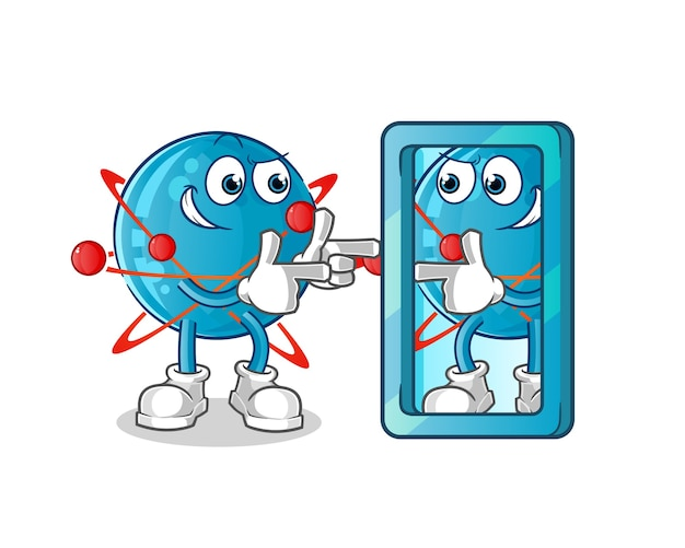 Atom fighting cartoon illustration