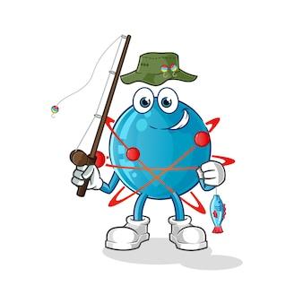 Атом рыбак иллюстрация