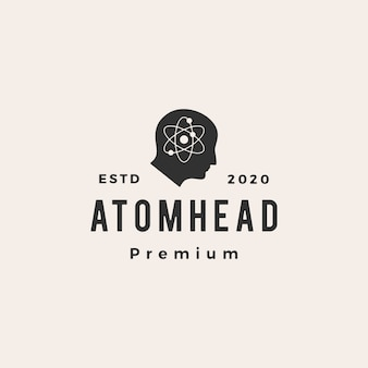 Atom head hipster vintage logo  icon illustration