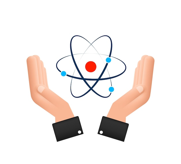 Atom icon over hands vector, atom symbols on white background.
