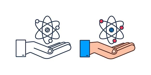 손 벡터, 흰색 바탕에 원자 기호 위에 원자 아이콘.