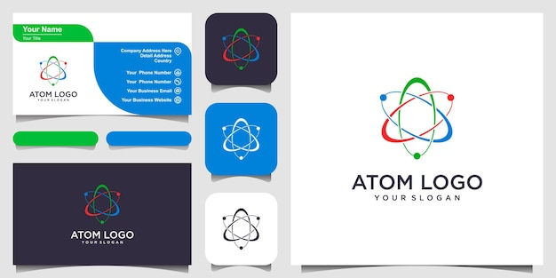 Atom icon vector illustration symbol of science education nuclear physics scientific research