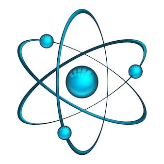 Atom. illustration of model with electrons and neutron isolated