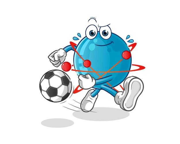 ボール漫画イラストを蹴る原子