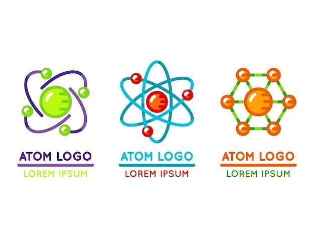 Atom logo set in flat style. microscopic nuclear particle.