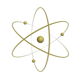 Atom orbit symbol icon .