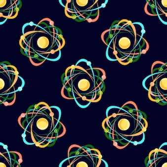 Atom seamless pattern on dark blue background.