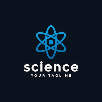 Шаблон логотипа научной лаборатории atom