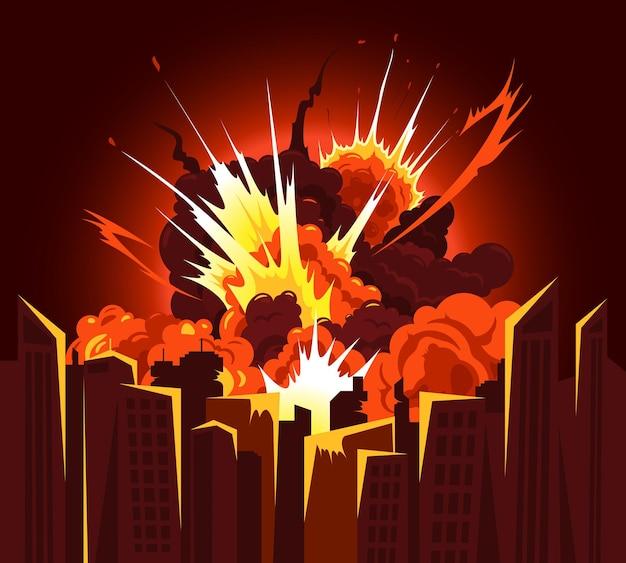 原子爆弾の爆発の強打は、明るい熱の輝きの色の街並みのイラストで燃えるような破片の雲を生成します