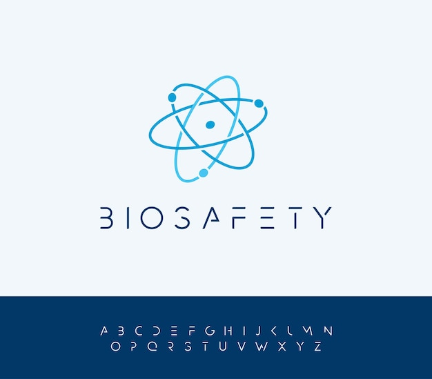 Atomic energy vector logo concept with futuristic letters atom structure nucleus icon bio safety