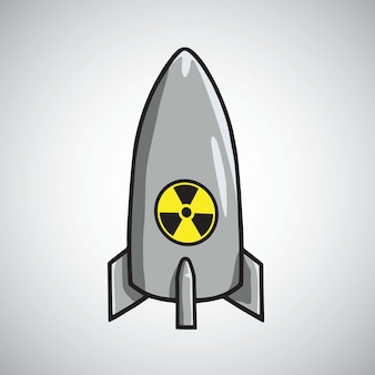 Atomic nuclear rocket missile bomb vector