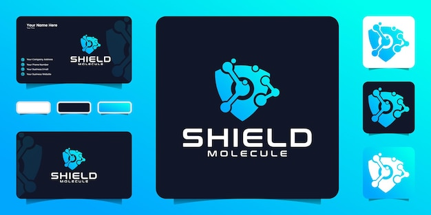 Atomic technology data shield logo design inspiration and business card