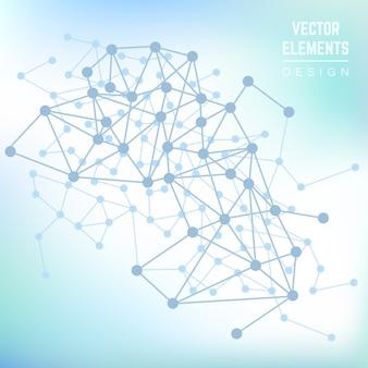 原子と分子。抽象的な科学の幾何学的な背景。技術生物学科学、化学ラインを接続、ベクトル図