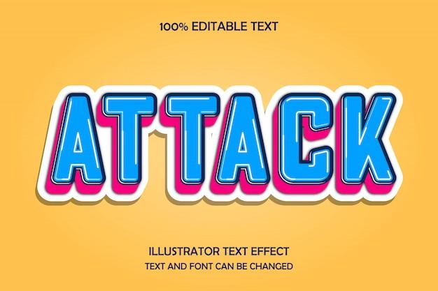 Атака, 3-й редактируемый текстовый эффект, современный стиль тиснения
