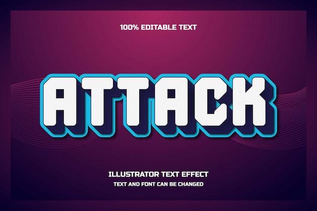 Атака, 3d редактируемый текстовый эффект, современный теневой футуристический стиль