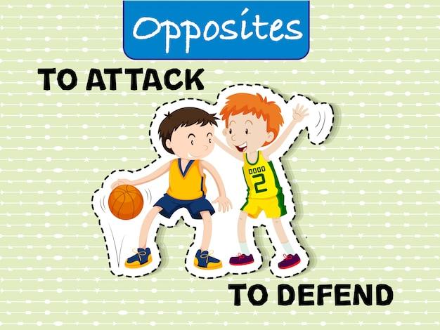 Attacca e difendi le parole opposte