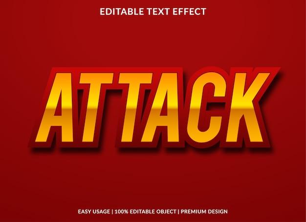 Атака текстовый эффект шаблон дизайна премиум стиль