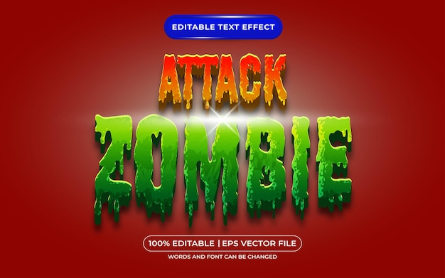 Attack zombie editable text style effect suitable for halloween event theme