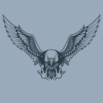 Attacking beautiful eagle