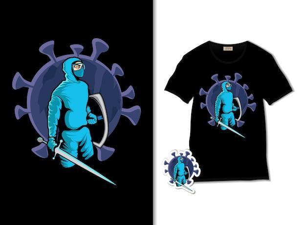 Иллюстрация атакующего вируса с футболкой