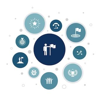達成インフォグラフィック10ステップのバブルデザイン。目標、リーダーシップ、目的、チームワークのシンプルなアイコン