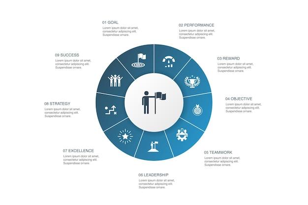 達成インフォグラフィック10ステップサークルdesign.goal、リーダーシップ、目的、チームワークのシンプルなアイコン