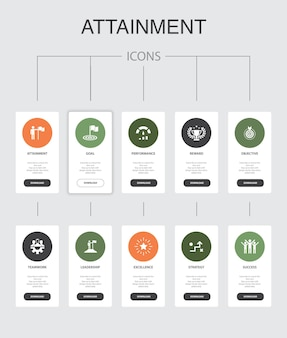 達成インフォグラフィック10ステップuiデザイン。目標、リーダーシップ、目的、チームワークのシンプルなアイコン