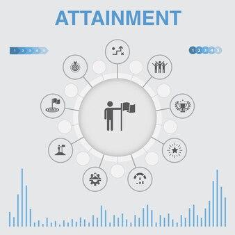 アイコン付きの達成インフォグラフィック。目標、リーダーシップ、目的、チームワークのアイコンなどのアイコンが含まれています