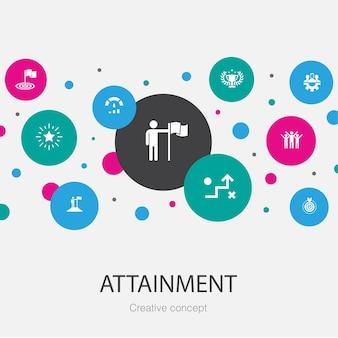 シンプルなアイコンで流行のサークルテンプレートを達成します。目標、リーダーシップ、目的、チームワークのアイコンなどの要素が含まれています