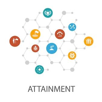 達成プレゼンテーションテンプレート、カバーレイアウト、インフォグラフィック。目標、リーダーシップ、目的、チームワークのアイコン