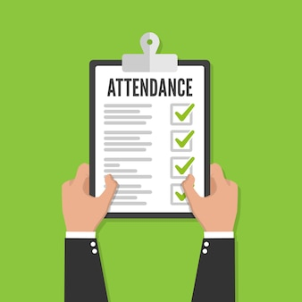 Attendance concept. businessman holding checklist. vector flat design