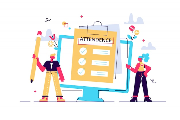 Attendance concept. businessman near document clipboard with checklist. illustration for web banner, infographics, mobile. questionnaire, survey, clipboard, task list.