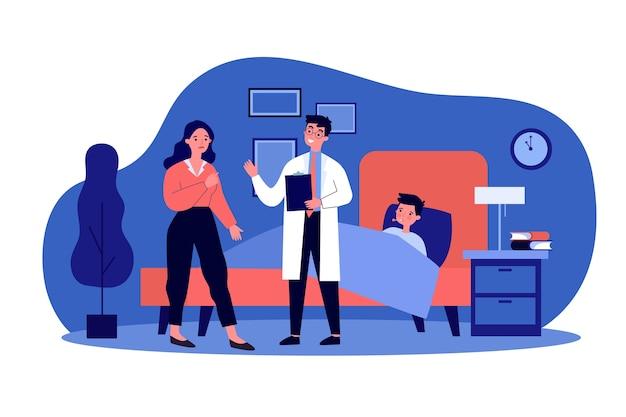 心配している母親と話している医師に通っています。子供、ベッド、インフルエンザのイラスト。バナー、ウェブサイトまたはランディングウェブページの医療と治療の概念