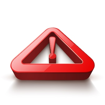 Attention 3d icon on the white background