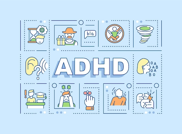 Attention deficit hyperactivity disorder word concepts banner. adhd signs. infographics with linear icons on blue background. isolated creative typography. vector outline color illustration with text