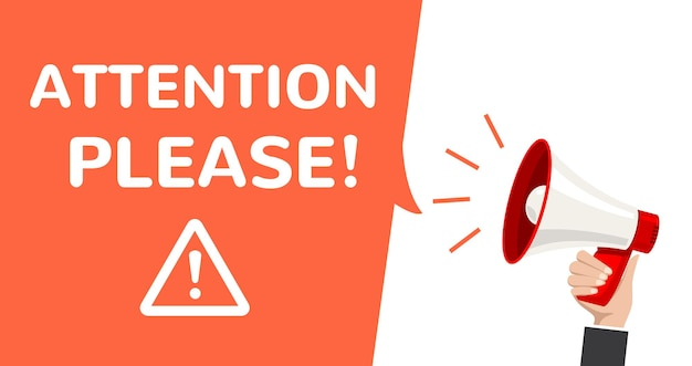 注意メガホンベクター情報発表。重要な注意はポスターに警告してください。