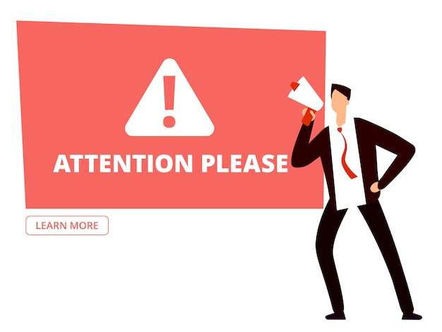 Attention please banner template with businessman with megaphone