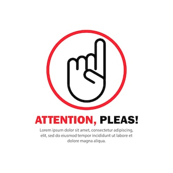 Attention please. pointing finger. new idea. vector on isolated white background. eps 10.